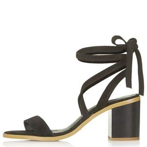 Brand New Topshop Nomad Suede Tie Black Sandals